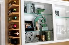 DIY Wine Rack for the end of the cupboards that are barren