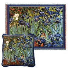 Van Gogh's Irises Tapestry Pillow and Throw Set - - Great for #Gift giving - Great for #Decorating - Buy at Snugglebug #Pillows and #Throws - www.snugglebugpillowsandthrows.com