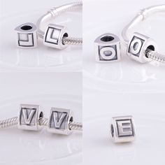 Alphabet Beads made with solid 925 Sterling Silver to fit Pandora, Chamilia, Biagi, Troll bracelets. Wear them as a pendant. Personalise your name on a necklace or bracelet or just use an initial.  Buy on ebay, search for BellaMiraUK.  Visit www.bellamiraaccessories.etsy.com