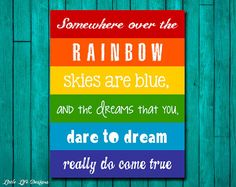 Rainbow Wall Art. Childrens Decor. Somewhere di LittleLifeDesigns, $8.00