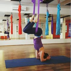 Aerial Headstand and core work from today's class preparation  4x speed #aerialyogasa #aerialyoga #headstand #planking