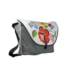 Kalocsai Embroidery - Hungarian Folk Art Rickshaw Medium Zero Messenger Bag.