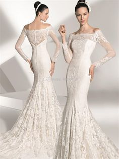 Wholesale Full Lace Wedding - Buy Newest Elegant Off Shoulder Wedding Dresses,Full Lace Covering Mermaid Wedding Dresses,2014 Long Sleeve Wedding Dresses., $171.66 | DHgate