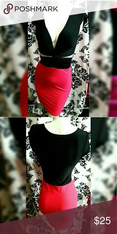 Bright coral and black dress Summer spring Bright coral pink and black dress nwot  spring dress (not brand shown similar style* stretch material bright coral dress club party dress bodycon hotpink sexy vestido won't negotiate prices on comment section no trades thanks for looking:) Fashion Nova Dresses Mini