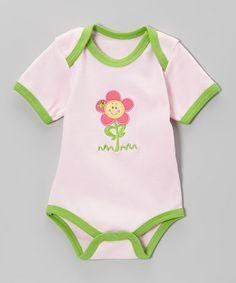 Look at this #zulilyfind! Pink & Green Flower Bodysuit by am pm kids! #zulilyfinds