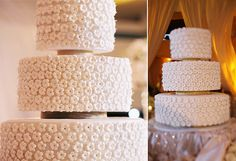 Delicate gum-paste flowers cover every inch of this traditional white wedding cake. White Cakes, White Wedding Cakes, Gum Paste Flowers, White Texture, Let Them Eat Cake, Dessert Table, Daisies, Vanilla Cake, Philippines
