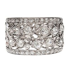 Diamond Hand Pierced Platinum Floral Laced Antique Band    1910