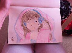 My art draw girl listen to music love