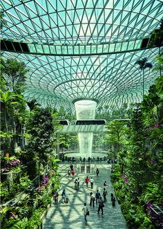 Jewel Changi Airport a Singapore Elle Decor, Marina Bay Sands, Yorkie, Singapore, Louvre, Earth, Urban, Building, Places