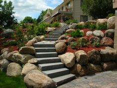 Retaining Walls in Minneapolis MN - a retaining wall contractor, NEC designs and installs retaining walls for your property in Minnesota. Landscaping With Boulders, Landscaping On A Hill, Landscaping Retaining Walls, Landscaping Ideas, Luxury Landscaping, Landscaping Software, Landscape Plans, Garden Landscape Design, Traditional Landscape