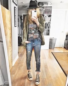 What I Wore This Week - livelovesara. Band t-shirt+boyfriend jeans+black and white sneakers+khaki jacke+grey and black hat. Fall Transitional Outfit 2016
