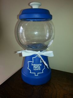 Clay Pot Toronto Maple Leafs Candy Jar by andreasmithart on Etsy . Clay Pot Toronto Maple Leafs Ca Toronto Maple Leafs Wallpaper, Toronto Maple Leafs Logo, Wallpaper Toronto, Flower Pot Crafts, Clay Pot Crafts, Diy Clay, Flower Pots, Diy Presents, Diy Gifts