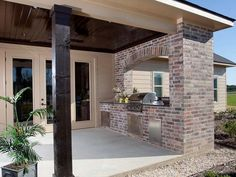 built in grill outside patio door Outdoor Kitchen Patio, Outside Patio, Outdoor Kitchen Design, Outdoor Living, Outside Grill, Small Patio, Outdoor Spaces, Small Outdoor Kitchens, Design Kitchen