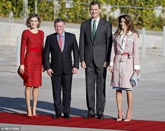 Spain's King Felipe and Queen Letizia  stand with Jordan's King Abdullah  and Queen Rania during a welcoming ceremony at the start of a two-day official visit to Spain