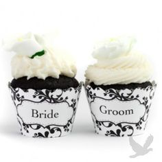 DMC Wedding Collection Custom Cupcake Wrappers (Set of 12) #black #Weddings