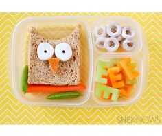Owl Sandwich  Turn lunchtime into a hoot with a wise owl sandwich. A few carefully placed foodstuffs, melon 'E' shapes and tasty 'O' snacks make this a very clever meal indeed!