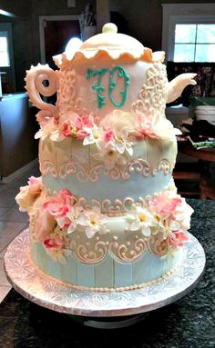 Unique 70th Birthday Cake Ideas On a Budget - 70th Teapot cake from Custom Cakes and Tasty Treats by Samantha | http://www.sassydealz.com/2013/07/unique-70th-birthday-cake-ideas-on.html