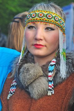 Evenk Woman In Beaded Headdress | Lake Baikal, Siberia, Russia