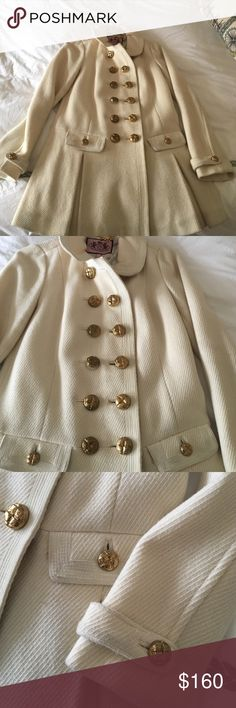 Cream juicy couture military jacket Size S Juicy couture cream military jacket.  It has some wear and the white has minimal coloring on it (see photos).  It's so cute and feminine and it's long it hits at the butt or below the butt.  I love it and love how it's contrasted with the feminine ruffle with the military buttons.  It's a a statement piece! Juicy Couture Jackets & Coats