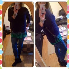 Today's look is to showcase how awesome the CAbi Zipper Pullover is....any top under it gives a cool peek of print, I have on the Border Stripe Cami and paired them both with Constellation Wash Skinny Jean...LOVE!
