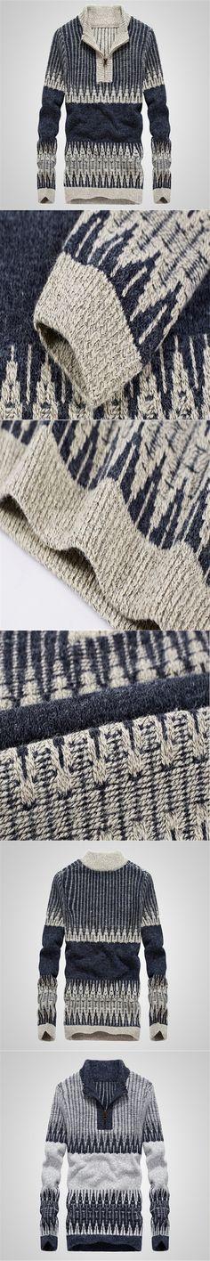 2017 Warm Thick  Sweaters Men Winter Pullovers Zipper Mandarin Collar Man Casual Clothes Pattern Knitwear Big Size 3xl