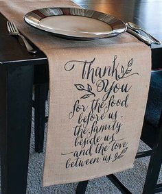 Look at this #zulilyfind! 'Thank You For the Food' Jute Table Runner #zulilyfinds