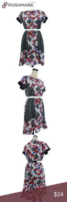 """Floral  Dress Red Black Size Type: Regular  Size: 10  Measurements: Armpit to armpit is 18"""" across when flat. Shoulder to hem is 35"""".    Material: 100% Polyester. Belt: Non leather material.    Additional Information: Adorable dress with white patent belt.   Condition: New with tag.  Wd0573 Peter Pilotto Dresses Midi"""