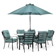 Hanover Lavallette Steel 7 Piece Rectangular Patio Dining Set