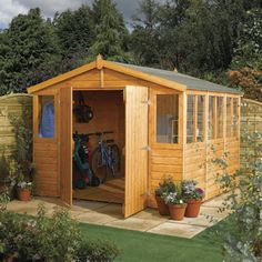 Diy pub shed plans. You can buy shed plans with different pitches of roof slopes. Wooden Storage Sheds, Storage Shed Plans, Wooden Sheds, Bike Storage, Buy Shed, Modern Wooden House, Wooden Houses, Wooden Workshops, Shiplap Cladding