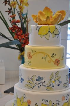 Tuscan inspired hand painted cake.