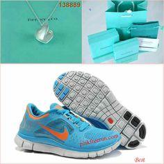 Nike Free Run 3 Blue Glow Platinum Open Love Tiffany & CO Necklace