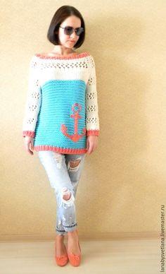 Купить Летний свитер, свитер в морском стиле, свитер с якорем - бирюзовый, коралловый, белый, якорь