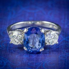 Sapphire Diamond Trilogy Ring Platinum 3.38ct Sapphire 1.20ct Of Diamond Diamond Clarity, Sapphire Diamond, Blue Sapphire, Sapphire Rings, Edwardian Fashion, Edwardian Style, All Gems, Antique Engagement Rings, Deep Blue