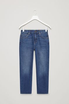 COS image 4 of Straight-fit cropped jeans in Blue
