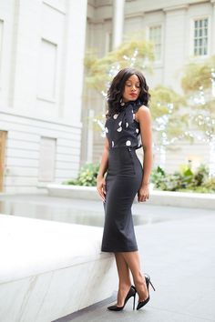 9 to 5 work chic! Kate Spade Polka dot bow top + Zara Pencil skirt with rear slit + Christian Louboutin Patent-leather pumps |www.jadore-fashion.com