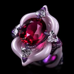 Jewelry or art? The answer is obvious with all Wallace Chan creations. This sumptuous Starlight Ballet ring is set with a spinel, diamonds, pink sapphires, porcelain and titanium. Silver Jewelry Box, High Jewelry, Jewelry Art, Gemstone Jewelry, Jewelry Rings, Unique Jewelry, Vintage Jewelry, Jewelry Design, Jewellery