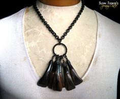 SPIRIT TOTEM - Buffalo Teeth Tribal Amulet Necklace by Susan Tooker of Spinning Castle