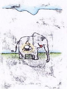 Baby & Geburt - Elefantenbaby (Grußkarte) - ein Designerstück von farbspuren bei DaWanda