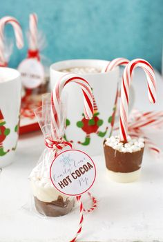 Candy cane recipes: These Candy Cane Hot Cocoa Pops make such a cute gift or fun project for a winter afternoon. Thanks, Boulder Locavore! gift to make 7 amazing recipes to make with all the leftover candy canes. Christmas Food Gifts, Christmas Goodies, Christmas Desserts, Christmas Baking, Holiday Treats, Handmade Christmas, Candy Cane Christmas, Christmas Cake Pops, Diy Holiday Gifts
