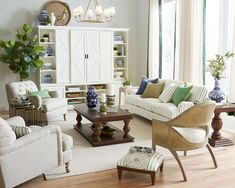 Neutral living rooms get a bad rap. There are a lot of smart reasons to use neutral pieces in your space, but without the right colors and accents, a neutral room falls flat. The good news is that if you have simple, well-made elements as your anchor pieces, you can easily add color and energy to your space with these strategies. Click to read how to add a pop of color to your living room on the How to Decorate Blog. Living Room Flooring, Living Room Sofa, Living Room Decor, Living Rooms, Family Room Sectional, White Painted Furniture, Chairs For Small Spaces, Ballard Designs, Upholstered Furniture