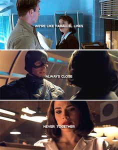 Captain America + Peggy Carter: We're like parallel lines. Always close. Never together.