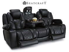 Home theaters Seatcraft Prestige Black Home Theater Seats - Row of 3 Sofa Drop Down Table - Power Recline Media Sofa