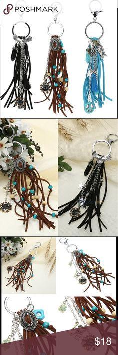 "NWT Dream Catcher Purse Charm Key Chains NWT Fun and trendy key chain purse charms in assorted styles. Leather fringe with assorted beads & charms. Silver-tone hardware. Material: Turquoise, alloy, leather Color: Black, Brown, or Blue Total Approximate Length: 7.08"" Accessories Key & Card Holders"
