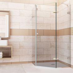 VIGO Reversible Frameless Neo-Angle 3/8-Inch Clear Shower Enclosure