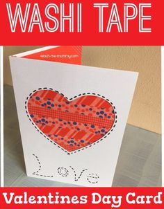 I know, I know, another Washi tape craft! But I just can't stop! This Washi tape Valentines Day card, is quite easy too. With a little bit of help from a grown up, kids can also make it!