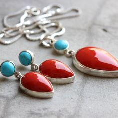 Coral turquoise - Red Coral turquoise pendant earrings set- Bezel set  $325.00
