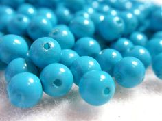 5mm Vintage Sky Blue Acrylic  Lucite Round Beads Wedding Crafts Japanese Reclaimed A4 #etsy  #gifts