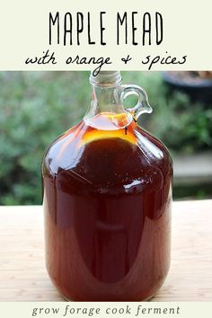 Maple mead, also called acerglyn, is made by replacing some of the honey with pure maple syrup. Here is a one gallon maple mead recipe fermented with orange and spices! Mead makers and home brewers will love this easy and delicious mead recipe! Homemade Alcohol, Homemade Wine, Beer Recipes, Alcohol Recipes, Homebrew Recipes, Brewing Recipes, Mead Wine, Mead Recipe, Fermentation Recipes