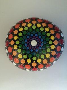 Large Rainbow Mandala Stone- Hand Painted Rock- dot painting- meditation- inspiration- decoration by FloridaFunshine on Etsy https://www.etsy.com/listing/387011572/large-rainbow-mandala-stone-hand-painted