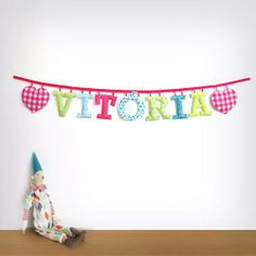Colourful custom #garland. Great for a #babies #nursery. The perfect #babyshower #gift #banner #name #fabric #letter #garland
